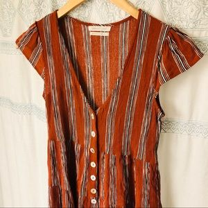 Urban Outfitters Short Sleeve Striped Flowy Romper